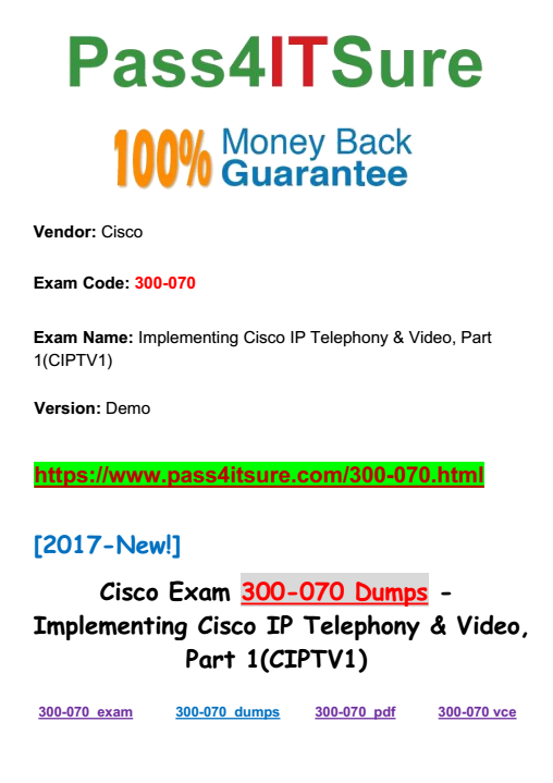 New Dumps Version] The Most Effective Cisco 300-070 Dumps