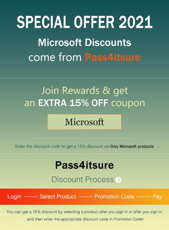 Pass4itsure Microsoft exam discount code 2021