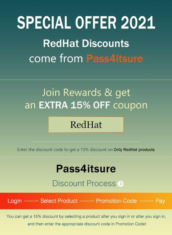 Pass4itSure RedHat Dumps Discount Code 2021